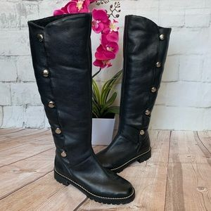 Michael Korse Black Leather Buttoned Winter Boots
